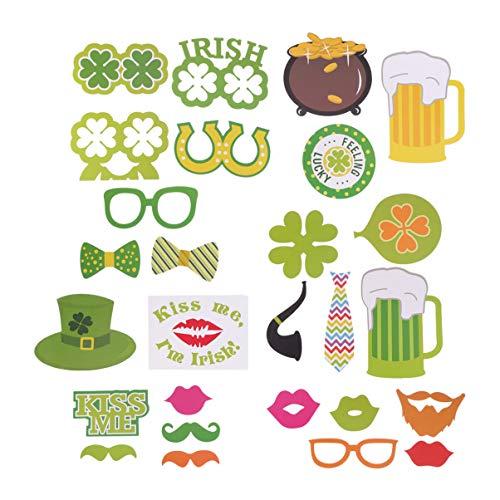 VALICLUD 29Pcs St Patricks Day Photo Booth Props Sombrero de Trébol Divertido Gafas Sombrero de Duende Gafas Bigote Falso Pajarita Cosplay Kits para Favores de Fiesta Desfile Verde