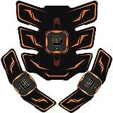 EMSIC EMS 腹筋ベルト 液晶表示 USB充電式 腹筋パッド 6種類モード 9段階強度 腹筋 腕筋 筋トレ器具 男女兼用 トレーニングマシーン ジェルシート10枚付き 日本語説明書付属 オレンジ
