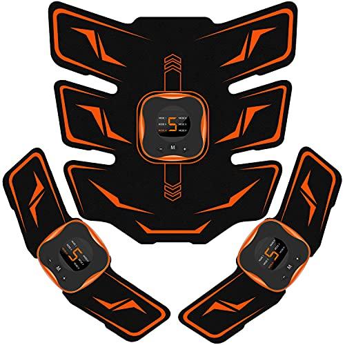 EMSIC EMS 腹筋ベルト 液晶表示 USB充電式 腹筋パッド 6種類モード 9段階強度 腹筋 腕筋 筋トレ器具 男女兼用 トレーニングマシーン ジェルシート10枚付き 日本語説明書付属 (オレンジ)