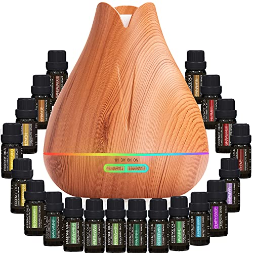 Aromatherapy Essential Oil Diffuser Gift Set - 400ml Ultrasonic Diffuser with 20 Essential Plant Oils - 4 Timer & 7 Ambient Light Settings - Therapeutic Grade Essential Oils