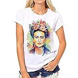 Camiseta para Mujer de Manga Corta Artista Mexicana Frida Kahlo Personalizada (Color : White, Size : M)