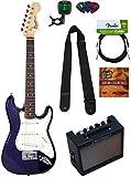 Squier by Fender Mini Strat Electric Guitar - Blue Bundle with Amplifier, Instrument Cable, Tuner, Strap, Picks, Austin Bazaar...