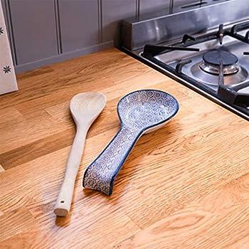 Nicola Spring Repose-cuillère/Repose-ustensiles de Cuisine Fantaisie en Porcelaine avec Motifs imprimés de Fleurs Bleues