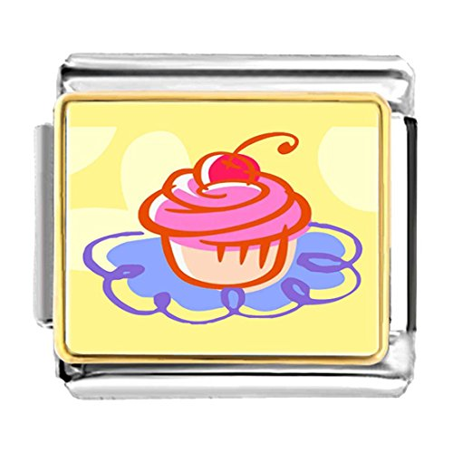 GiftJewelryShop Gold Plated Food Cupcake Bracelet Link Photo Italian Charm Bracelets