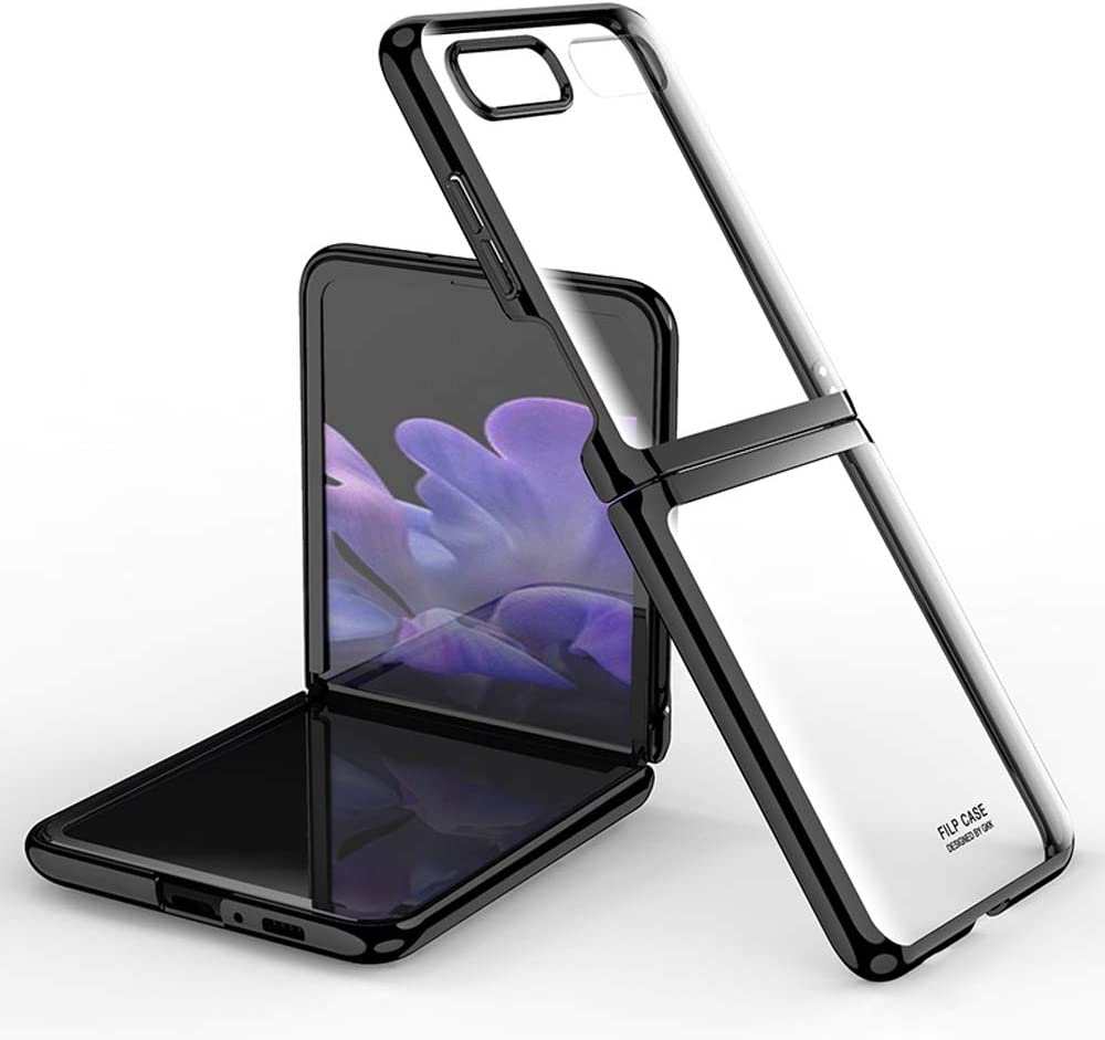 DOOTOO for Samsung Galaxy Z Flip Case Luxury Premium Plastic Plating Crystal Cover Finish Anti-Scratch Shookproof Bumper Full Protection Case for Samsung Galaxy Z Flip 5G (Clear-Black)
