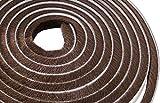 Lamond Regleta para puerta de 10 metros con cierre de cepillo, adhesivo para puerta corredera y armario, fieltro de alta densidad, 9 mm de ancho x 9 mm de alto, color marrón