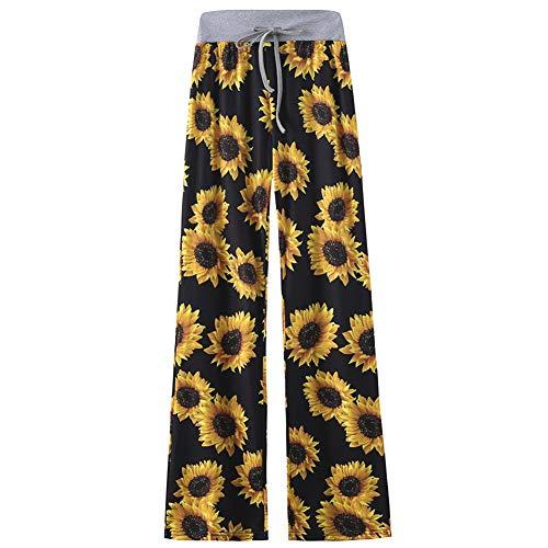 amropi Mujer Amplia y Cómoda Pantalones de Floral Impresión Holgada Palazzo Casual Trousers(XXL,Girasol)