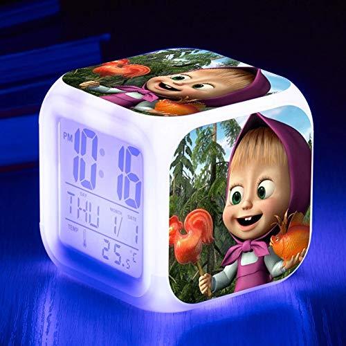 fdgdfgd Dibujos Animados Anime Oso Despertador Reloj LED Digital con termómetro Fecha Despertador 3D Reloj Despertador para niños Juguete