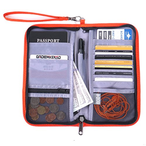 GADIEMENSS Travel Wallet Passports Holder with RFID Blocking Offer Family Organizer for Credit & Business Cards, Document, Boarding Pass, and Accessories (Orange)