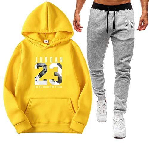 XMYP Jordania 23 # Baloncesto con capucha ropa deportiva para hombre, trajes de sudor para hombre, conjuntos de 2 piezas, trajes casuales para trotar con capucha ropa de entrenamiento amarillo-XXL