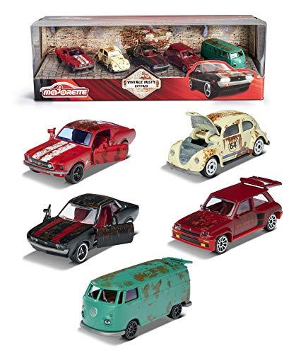 Majorette 212052012 - Set regalo vintage Rusty, 5 auto giocattolo, Renault 5 Turbo, T1, Ford Mustang, Volkswagen, Toyota Celica GT Coupé, superficie arrugginita, 7,5 cm, multicolore