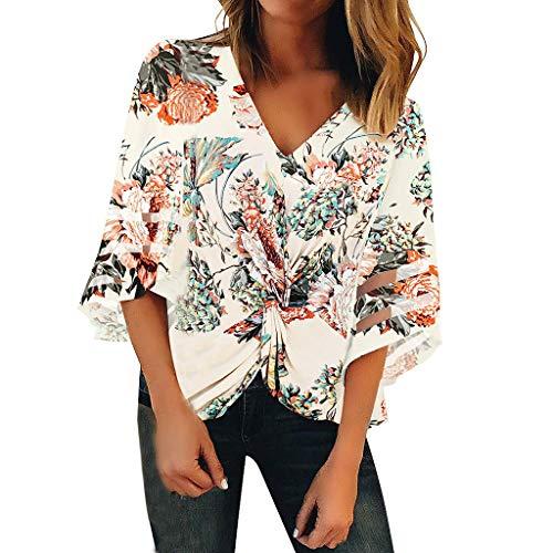 Mujeres de Moda con Cuello en V con Estampado Floral Panel de Malla Blusa Casual Camisa Suelta Top Mujer Redondo De La Túnica De Manga Corto Camisas Blusas T Shirt Camisetas