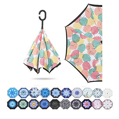 Regenschirm Double Inverted C Freistehender Regenschirm Stehender Regenschirm mit geradem Lenker Sonnenschutz UV-Regenschirm (Color : Maple Leaf)