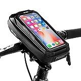 Soporte Movil Bicicleta Soporte Movil Moto Impermeable con Cubierta de Lluvia Soporte Telefono Bicicleta Bolsa Manillar Bicicleta para iPhone 11/XS Max/Samsung S9+/S10/Huawei P30 Hasta 6.5' (Negro)