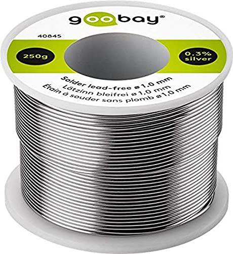 Goobay 40845 Lötzinn bleifrei; ø 1, 0 mm, 250 g Markenlötzinn mit einem Silberanteil (Ag) von 0, 3%