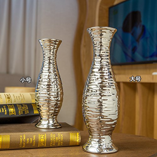Creative Crystal Jarron Ceramica Europea Moderno Arreglo de suelo Sala de estar TV Gabinete, mesa de comedor y decoraciones preferenciales para el hogar, toda la botella de plata de 30 cm de alto colo