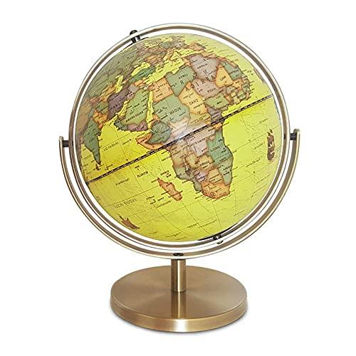 WZMPH Globo de Spinning de Escritorio para el Mundo Educativo Globo para los Amantes de la geografía Globo de Escritorio Decorativo 720 ° Geografía de Tierra giratoria,Oro