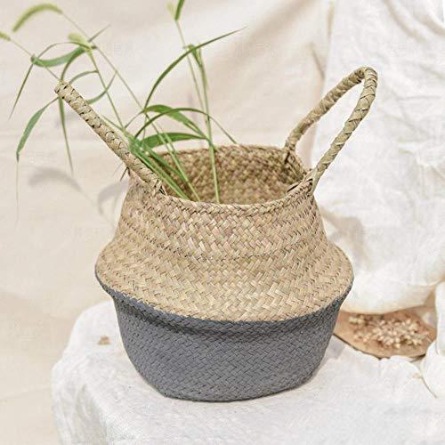 Seagrass Basket Handmade Bamboo Storage Baskets Foldable Laundry Straw Patchwork Wicker Rattan Seagrass Belly Garden Flower Pot Planter Basket,Black,M 27X23CM