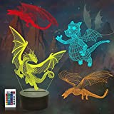 FULLOSUN Dragon Gifts, Smaug 3D Night Light for Kids (4 Patterns) with Remote Control & 16 Colors Changing & Dimmable Function & Gift Wrap, Xmas Birthday Gifts for Boy Girl