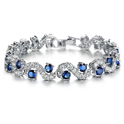 Yoursfs - Braccialetto da matrimonio placcato oro rosa/platino con cristalli, alla moda, accessorio per gioielli, idea regalo e Fede, colore: blu, cod. DS931LFR