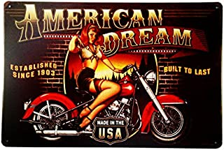 dingleiever-American Dream Motorcycle Pin Up Girl Sign Great Gift idea for The Motorcycle Fanatic!