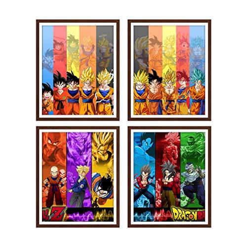Canvas Wall Art Dragon Ball Comic Poster Goku and Vegeta Canvas Artwork Poster for Home Decor,8 x 10 Inches,No Frame