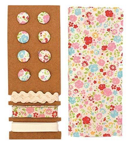 Lili Rose ensemble textile multicolore Fleurs 48x48cm Bandes 3x1m 8 Boutons