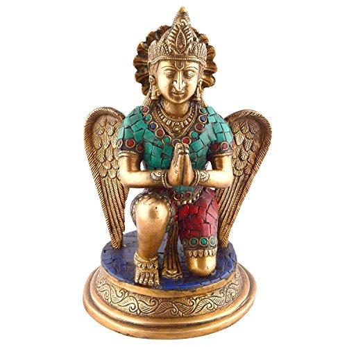 craftvatika Figur Garuda aus Harz Heiligen Vogel Figurine- Lord Vishnu Messing Decor- Hindu Gott Göttin Metall Skulptur