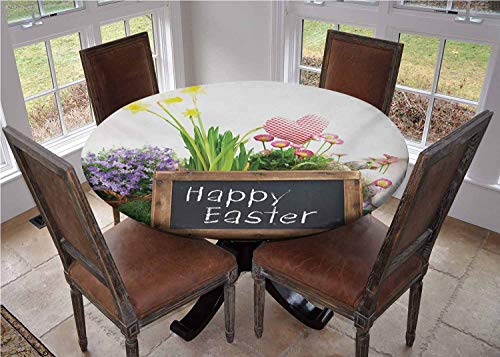 Mantel de mesa redonda con bordes elasticos, arreglo navideno con flores, huevos, pizarra sobre mesa de madera, elementos rusticos de comedor, diametro de 67 pulgadas