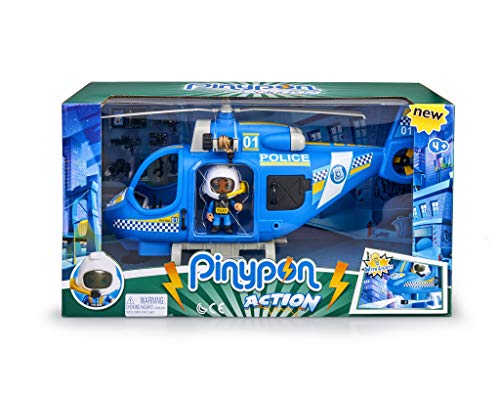 Pinypon Action - Police helicopter with 1 Figure and Accessories, for boys and girls from 4 to 8 years (Famous 700014782)