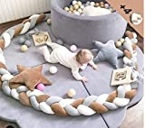 Braided Crib Bumper Soft Pad Flannel Crib Bumper Sleep Bumper Safe for Toddler/Newborn Included Edge & Corner Guards White Grey Brown 157in(4Meters)
