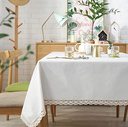 ggzgyz Jardín Mantel Soild con Encaje Blanco Mantel Rectangular Elegante Mantel de Lino de algodón para la Cena en casa Mantel de té