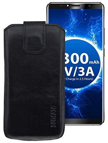 Suncase ECHT Ledertasche Leder Etui für Oukitel K6 Tasche (mit Rückzugsfunktion) schwarz