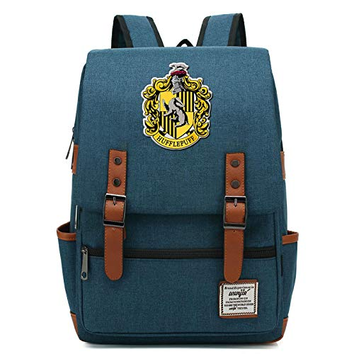 MMZ Casual School Bag Hufflepuff Backpack for Boys and Girls Harry Potter Rucksack for Men and Women Large Army Blue