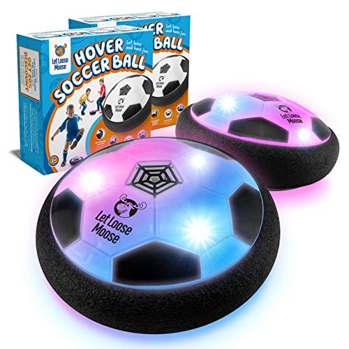 LLMoose Hover Soccer Ball – Set of 2 - Indoor Hover Ball with LED Lights and Soft Foam Bumpers to Protect Furniture – Kids Toys for 2-16 Year Old Boys and Girls