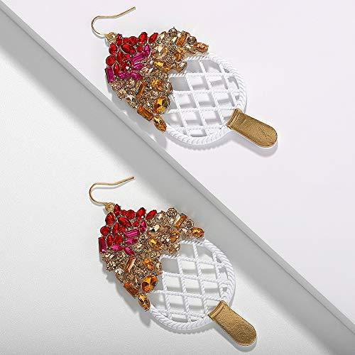 XAFXAL Damen Ohrringe,Jahrgang Ba EIS Form Niedliche Glasmalerei Kristall Einfache Persönlichkeit Böhmische Anhänger Ohrringe Sexy Elegante Hochzeit Geburtstag Schmuck Mode Wild Ohrringe Frauen