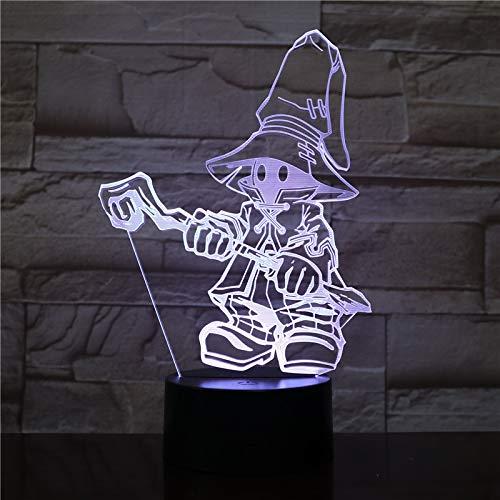 Lampara LED Videojuego Vivi Final Fantasy 9 FFIX Cambia Color USB Luz nocturna y decoración