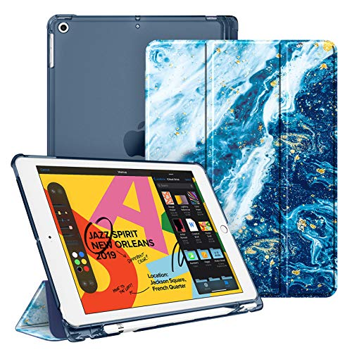 Fintie Case for iPad 8th Generation (2020) / 7th Gen (2019) 10.2 Inch with Pencil Holder, Ultra Slim Lightweight Protective Case with Transparent Back Cover with Auto Sleep/Wake Function - Sea Blue