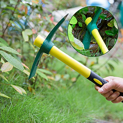 KINJOEK Pick Mattock Hoe, Forged Weeding Garden Pick Axe with 15 Inch Fiberglass Handle for Loosening Soil, Gardening, Camping or Prospecting