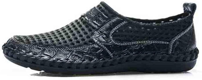 TXSCVBJN Men Sandals Good Leather Casual Men Summer shoes Outdoor Hole Leather Sandals For Man Comfortable Men Beach shoes Black