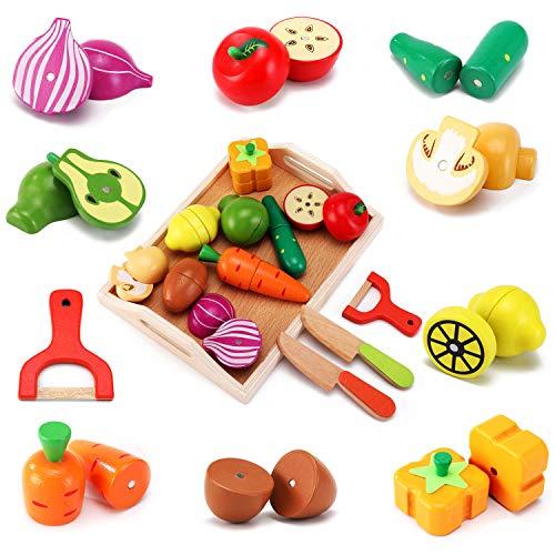 CARLORBO Giocattoli di Legno Cibo per la Cucina dei Bambini -Gioca Il Cibo Taglio di Frutta e Verdura , Giocattoli per l'apprendimento Regalo per Bambini