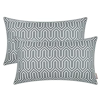 BRAWARM Pack of 2 Chevron Geometric Pillow Covers Cases with Piping Cozy Fleece Bolster Cushion Covers Decorative Couch Pillows for Living Room Car Sofa Chair 14 X 20 Inches Neutral Gray