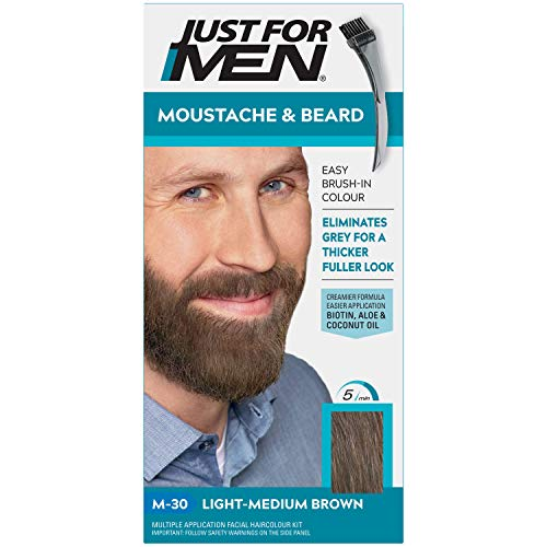 Just for men Schnurrbart & Bart hell-mittelbrauner Farbstoff, beseitigt Grau für einen dickeren & volleren Look - M30