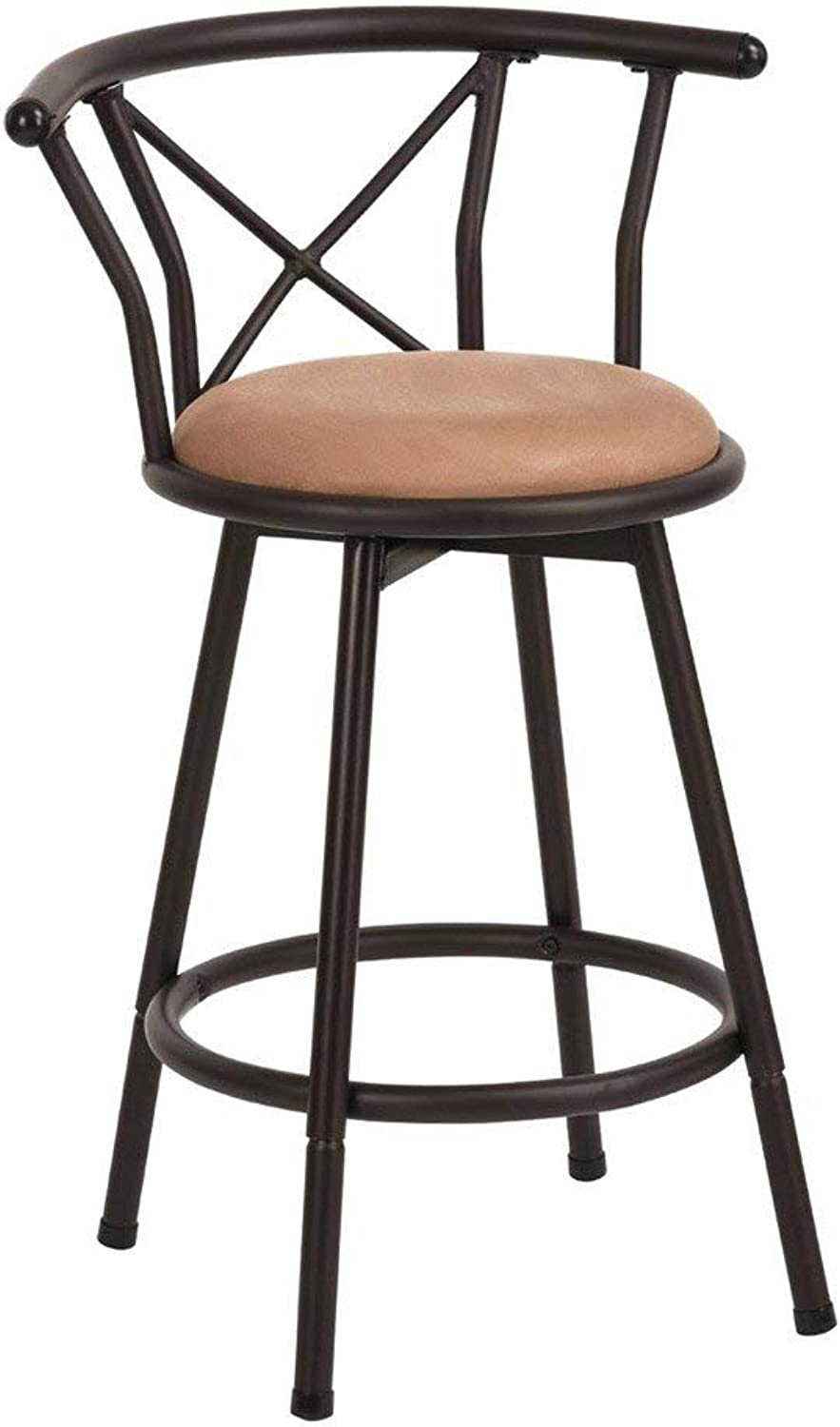 LLYU Vintage Style Industrial bar Counter Stool high Chair with backrest footrest Cushioned Living Room or Kitchen