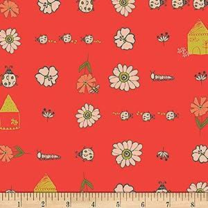 Art Gallery Fabrics Art Gallery Dew & Moss Bugsy & Posy Red Fabric