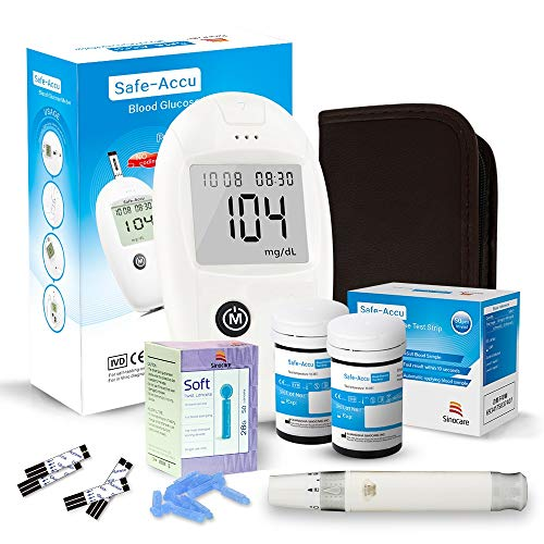 sinocare medidor de glucosa en sangre, kit de prueba de glucosa en sangre Safe-Accu con Codefree tiras de prueba de glucosa en sangre x 50 + dispositivo de punción - mg/dL