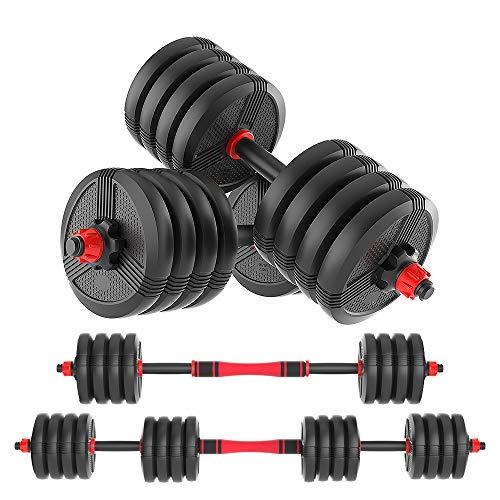 RUNWE 45 lb Dumbbell Set of 2 Adjustable Dumbbells Barbell 2in1 Free Weights Set Core Fitness Equipment Heavy Dumbbells for Home Gym for Men/Women