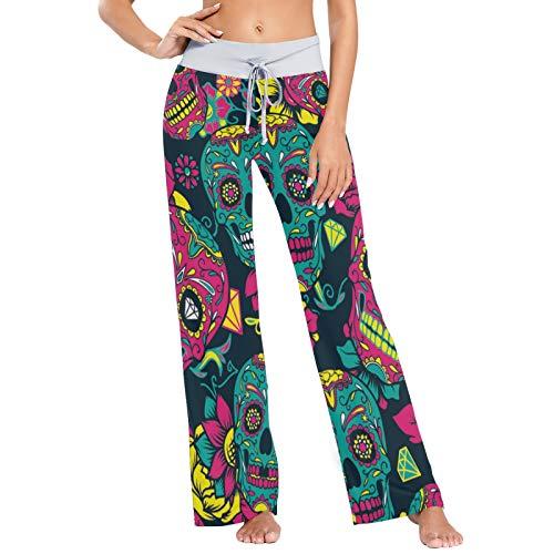 Pantalones de Pijama para Mujer Pantalones de Dormir Pantalones de Pierna Ancha atléticos Largos Flor de Calavera Colorida