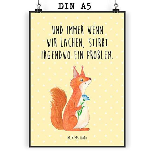 Mr. und Mrs. Panda Wanddeko, Geschenk, Poster DIN A5 Eichhörnchen Blume mit Spruch - Farbe Gelb Pastell