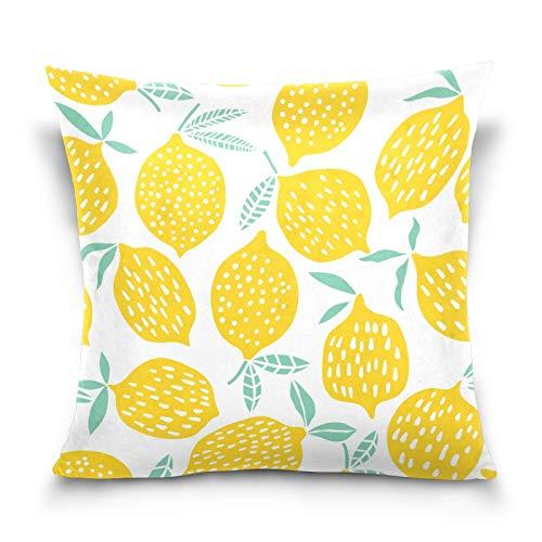 HMZXZ Kissenbezug 40x40cm Tropisch Zitrone Muster Dekorative quadratische Kissenbezüge Kissenhüller für Couch Sofa Schlafzimmer Wohnzimmer